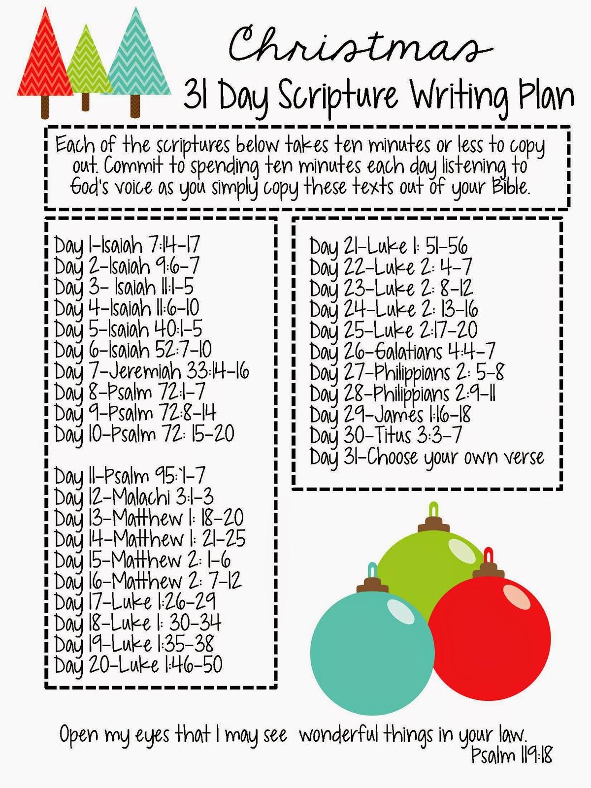 Christmas Scriptures.Sweet Blessings Christmas Scripture Writing Plan