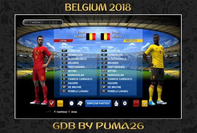 Belgium 2018 Kit PES 2013