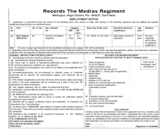 Records The Madras Regiment Wellington Recruitment 2018