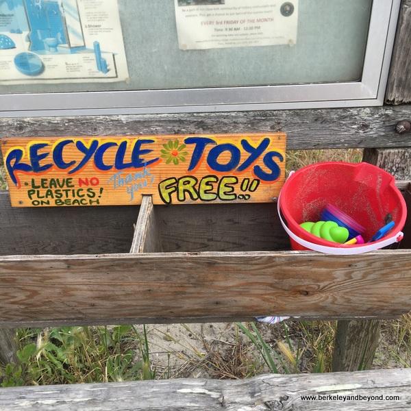 shared children's toys at Stinson Beach, California