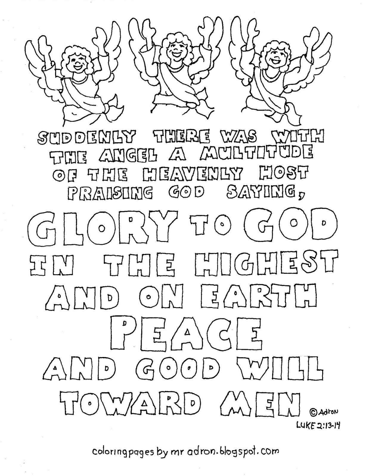 heavenly host of angels coloring pages | Coloring Pages for Kids by Mr. Adron: Printable Christmas ...