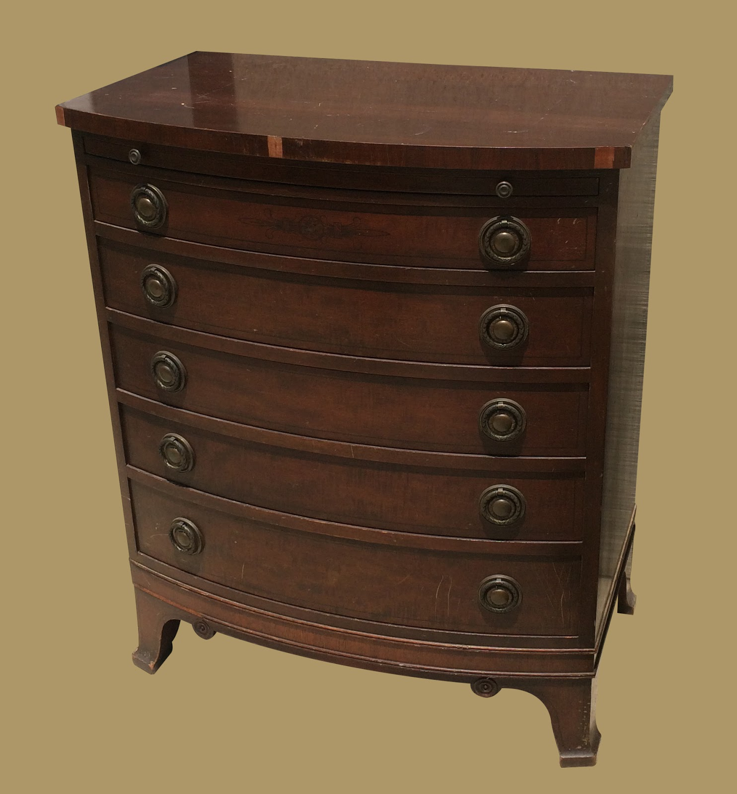 Uhuru Furniture & Collectibles: Vintage Bow-Front Mahogany