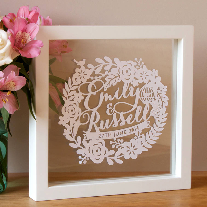 Wedding Gifts First Year Anniversary : Personalised First Wedding Anniversary Papercut Not On The High ...
