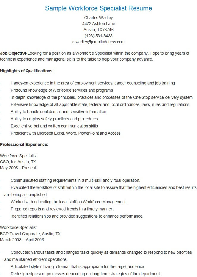 resume sles sle workforce specialist resume