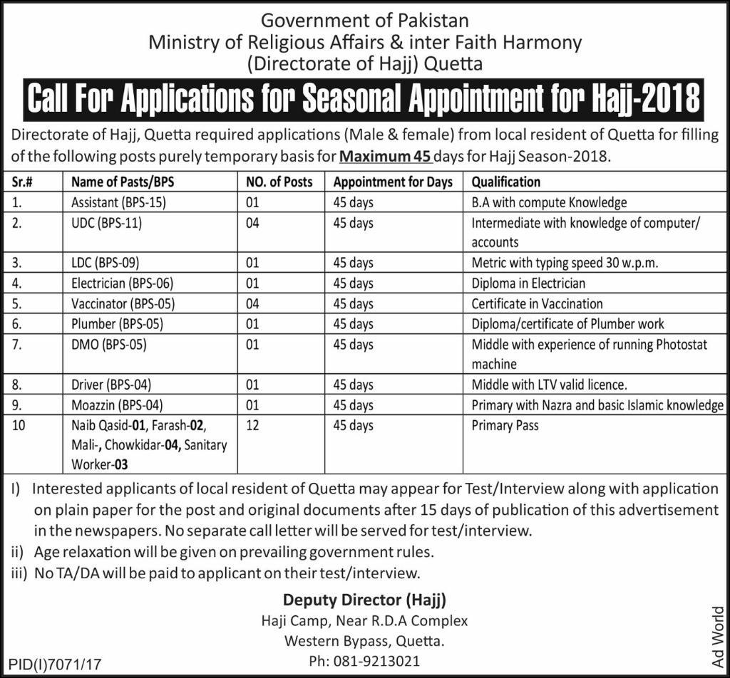 Appointment for Hajj 2018 Jobs in Ministry of Religious