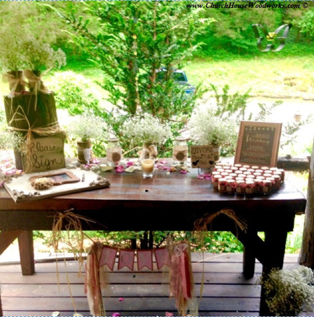 Rustic Wedding Guest Book Sign In Table,  Tree branch vases, wood slices, rustic venue