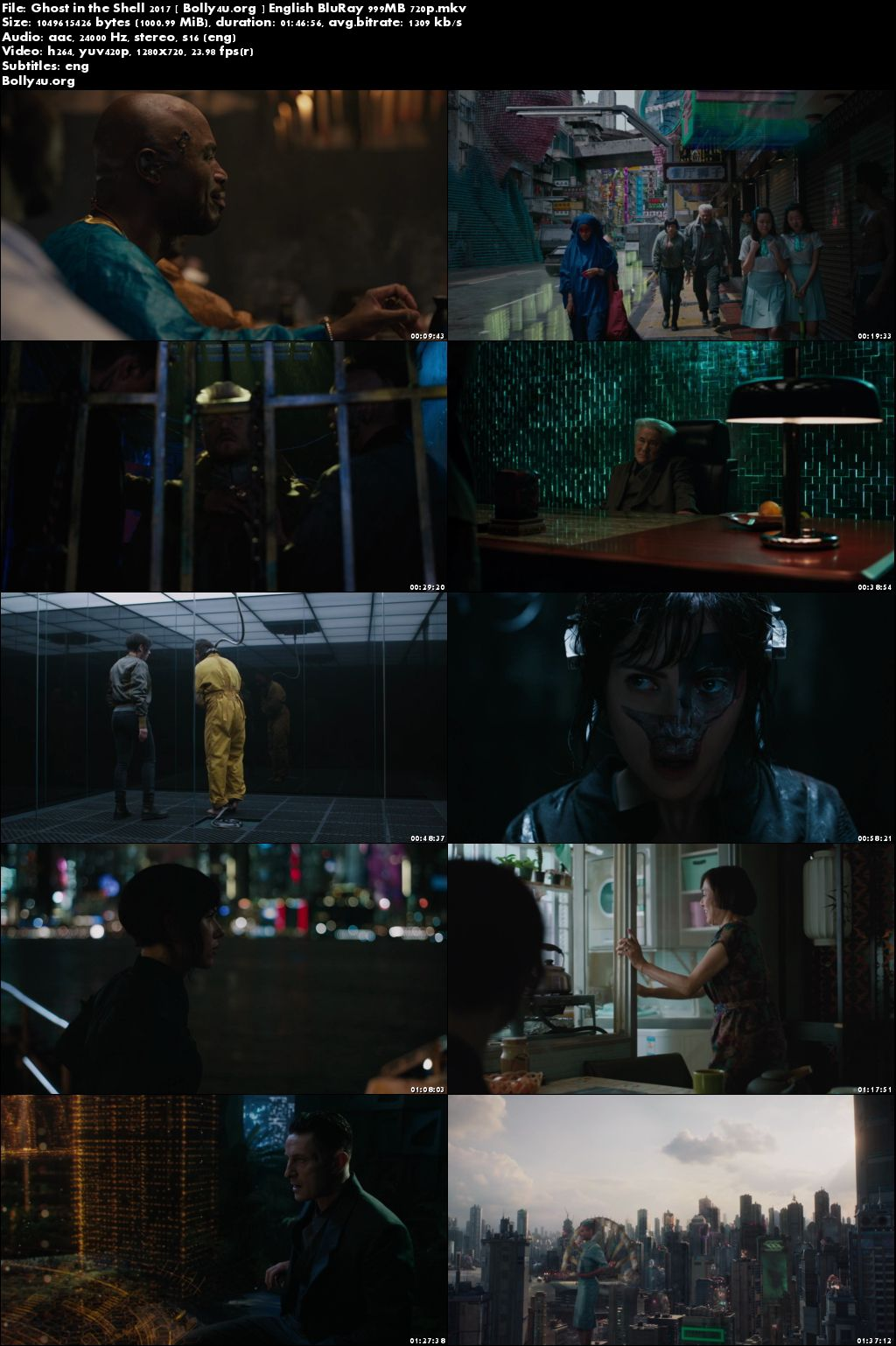 Ghost in the Shell 2017 BRRip 999MB English 720p ESubs Download