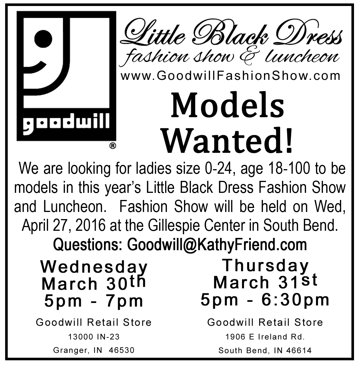 LAST Model Call for South Bend LBD is March 31 - Goodwill