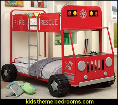 Rescue Team Fire Truck Metal Twin/ Twin Bunk Bed