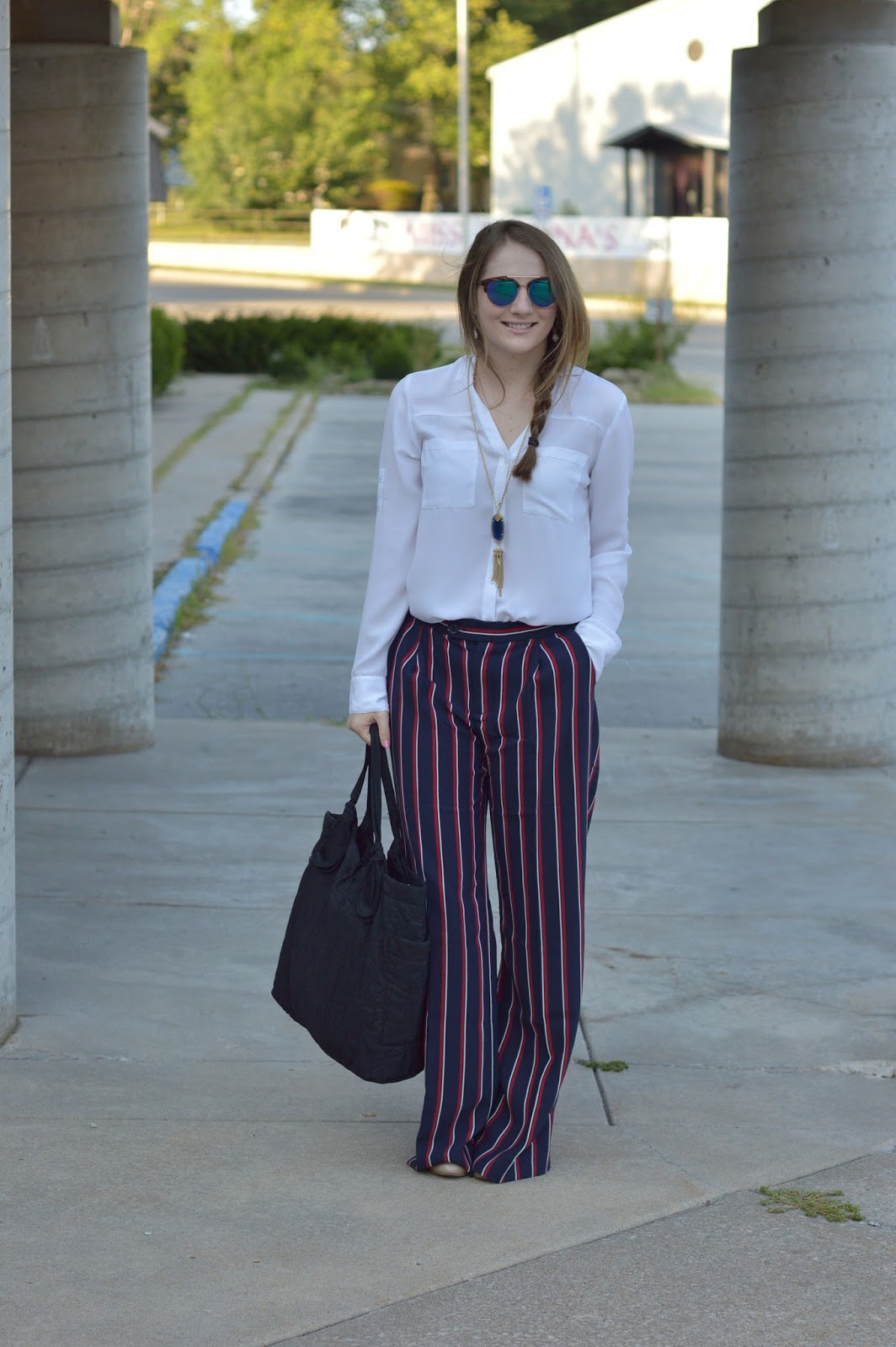 what to wear to work this fall | striped dress pants | what to wear with striped dress pants | how to wear striped pants | what to wear with stripes | how to wear stripes in the office | a memory of us | kansas city fashion blog