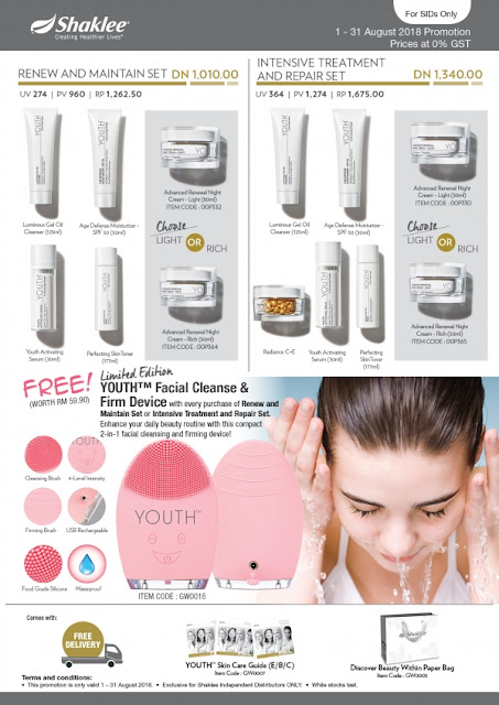 Promosi SHAKLEE Aug 2018. Shaklee Youth Set with Facial Cleanse & Firm Device