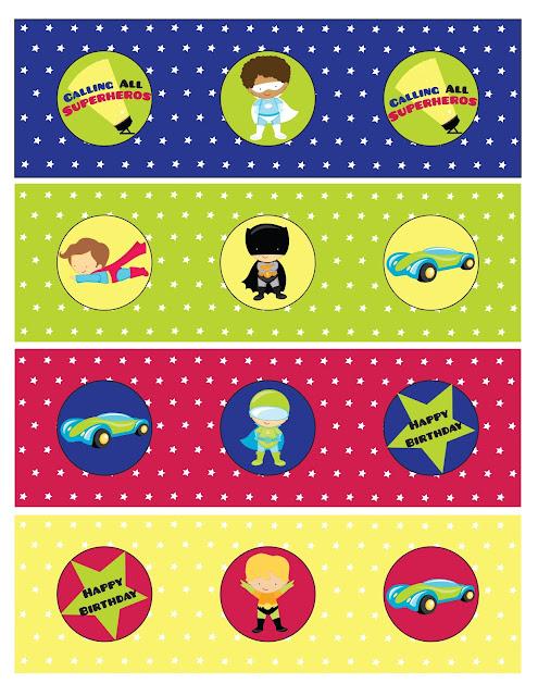 Etiquetas de ¡Llamando a todos los Super Hëroes!  para imprimir gratis.