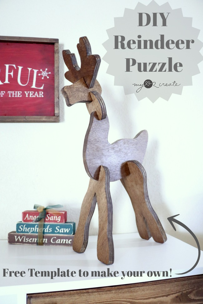 How to make a DIY Wooden Reindeer Puzzle for your holiday Decor or for the kids and grandkids to play with!  Free template and tutorial at MyLove2Create.