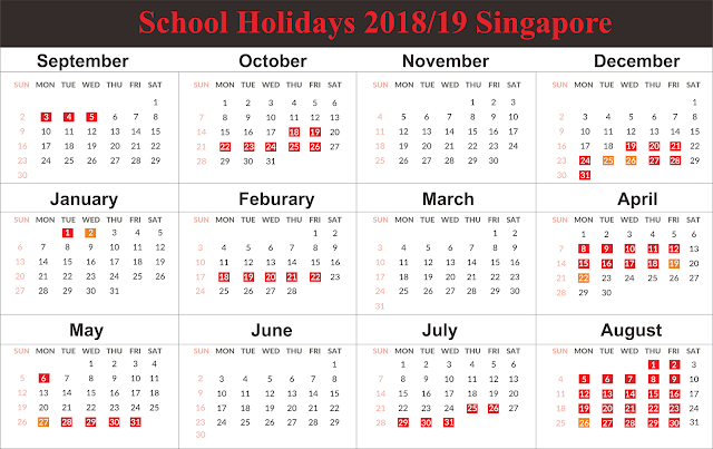 Get Free School Holidays 2019 Singapore Printable