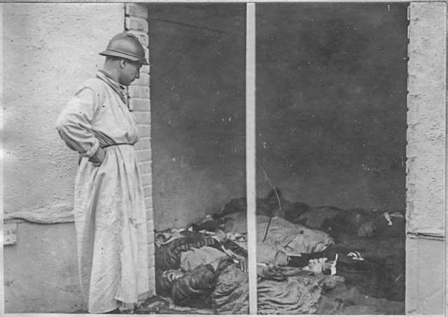 In the streets of Bitola (Monastir) - March 1917. The Dutch mission: Dutch Doctor Van Djik looking at the victims of gas bombardment