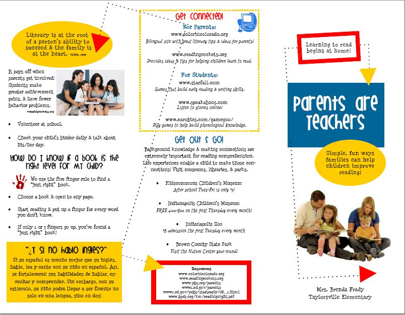 Primary Inspired Family Literacy Brochure In Word!