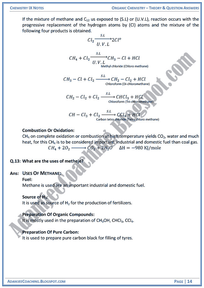 Organic Chemistry - Theory Notes and Question Answers