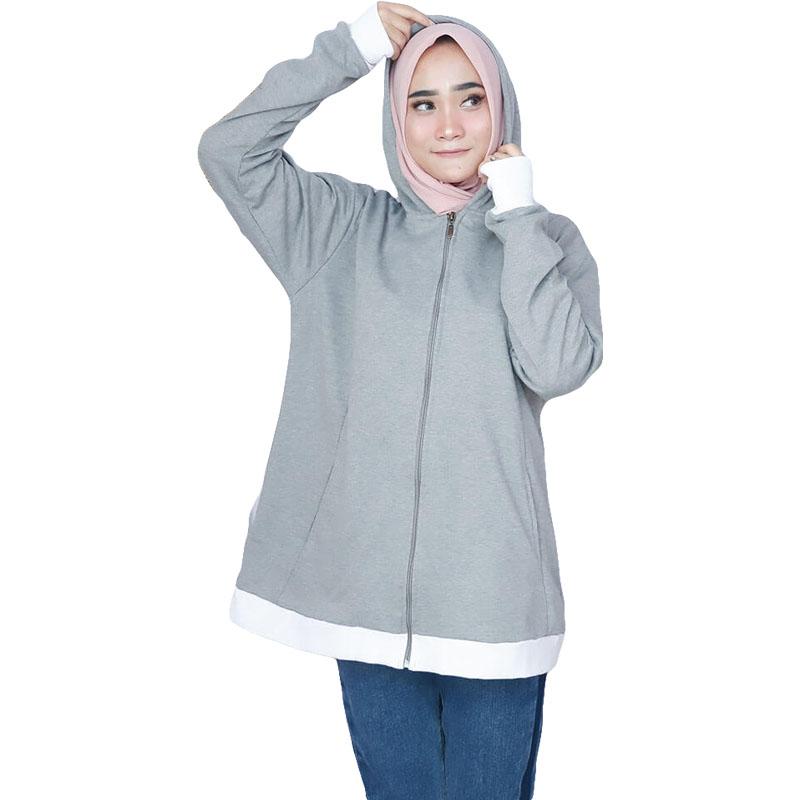 Jaket Sweater Wanita Muslimah Korean Style - Abu