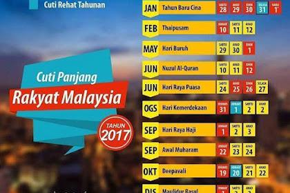 Cuti Panjang Rakyat Malaysia 2017!