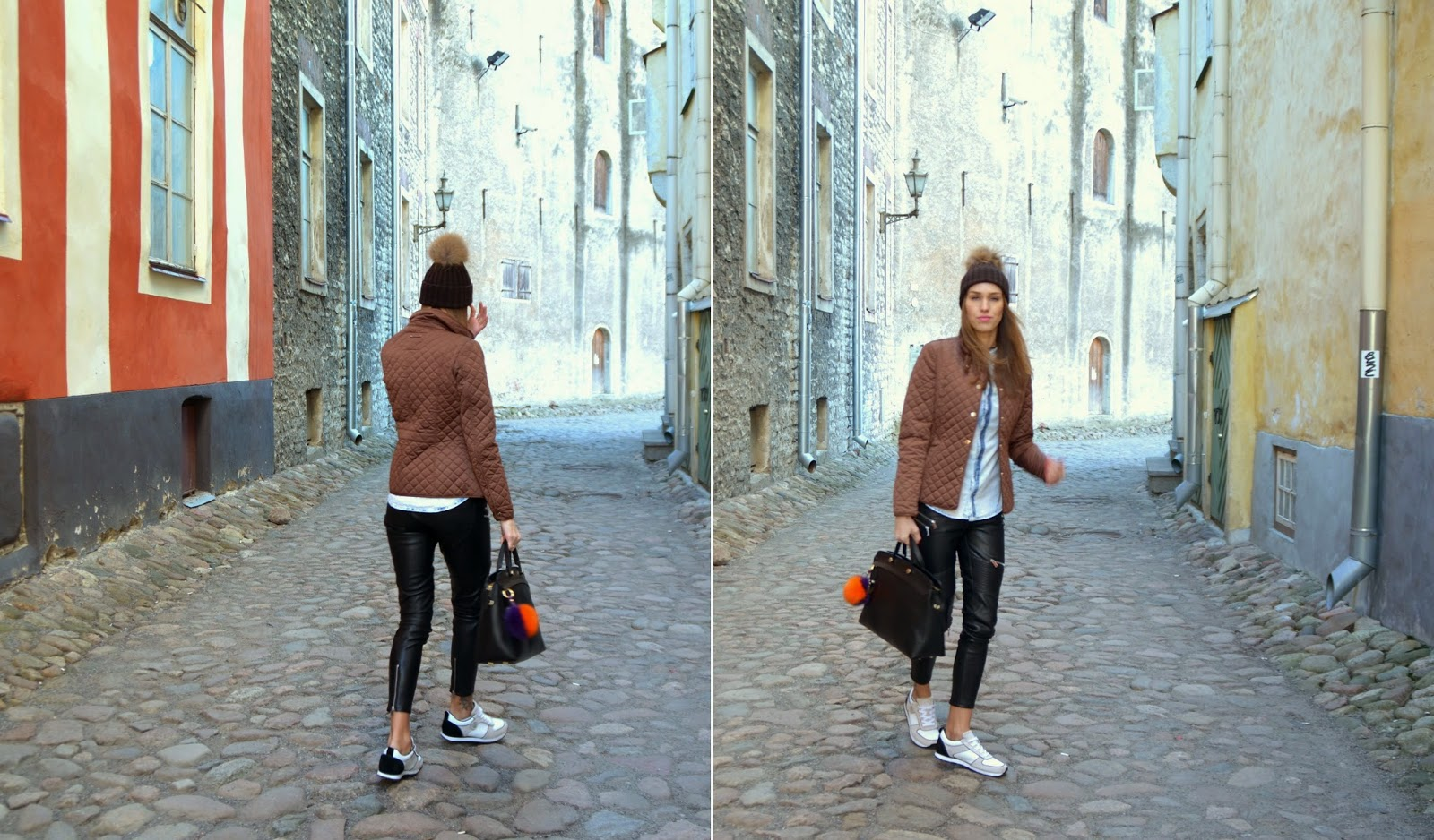 casual-sporty-outfit-denim-shirt-leather-pants-white-sneakers-pom-pom-hat