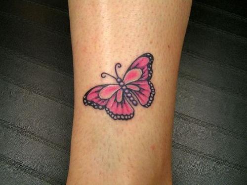 Cor-De-Rosa De Pulso Tatuagem De Borboleta