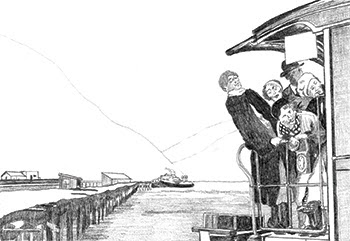 Brenda Wilbee's sketch of first tourists in Skagway AK, 1898