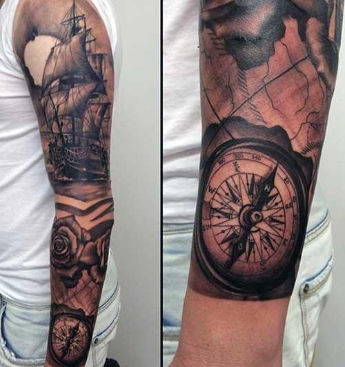 compass tattoo sleeve pusula kol dövmesi