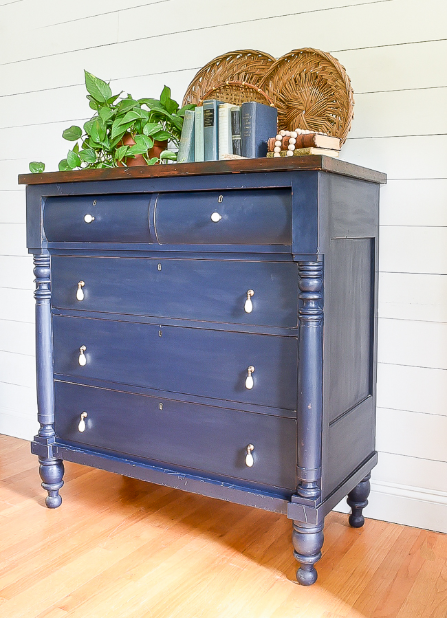 Vintage coastal blue empire dresser makeover