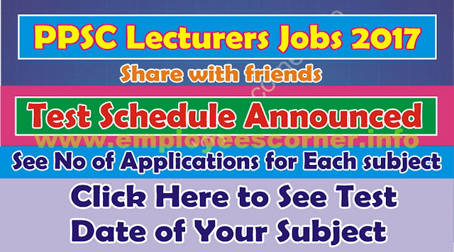 PPSC Lecturers Jobs 2017 Written Test Schedule