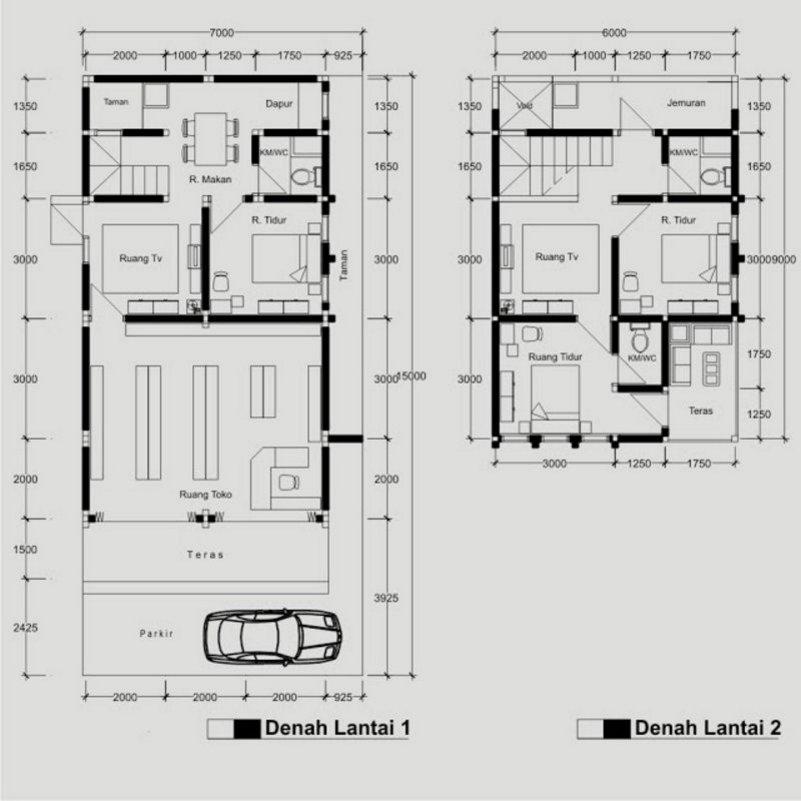 denah rumah ruko 2 lantai 7x10 m yang minimalis