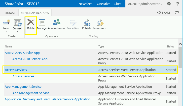 how to delete service application in powershell sharepoint 2013