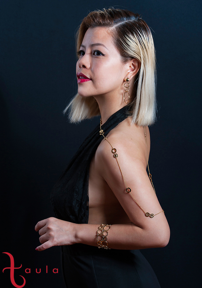 Beautiful Taula gold necklace, bracelet and rings worn by Crystal Phuong