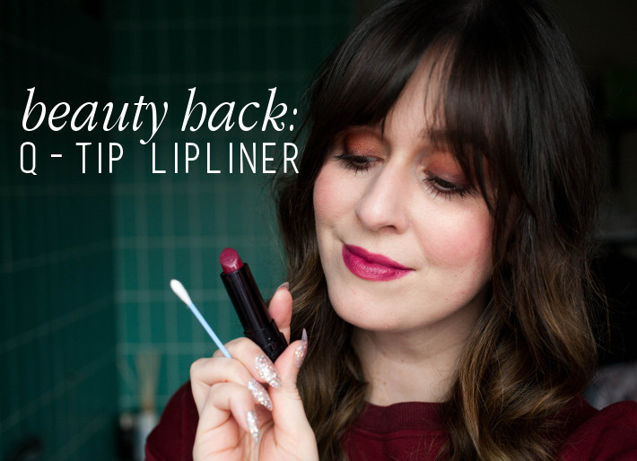 Beauty hack: Q-tip lipliner smudge