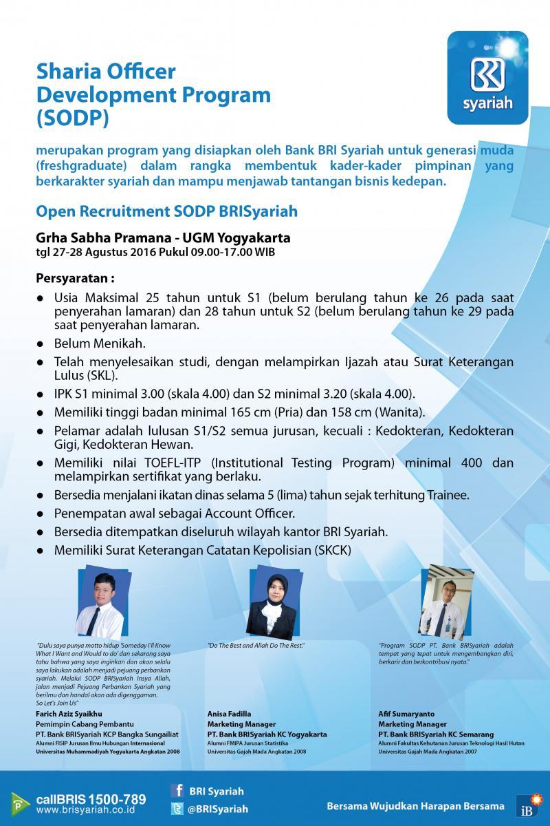 Penerimaan SODP Bank BRISyariah Via UGM Yogyakarta
