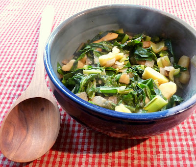 Swiss Chard or Kale with Apple & Onion