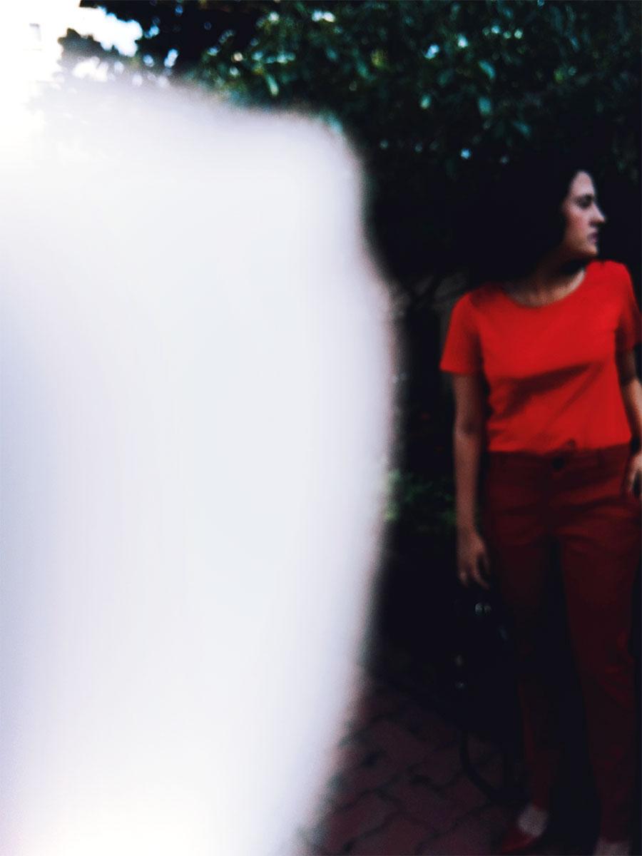 Next Basic Red Tee, ASOS Highwaist Pants ,Zara Red Patent Block Heel,Zara Black Velvet Mini Bag