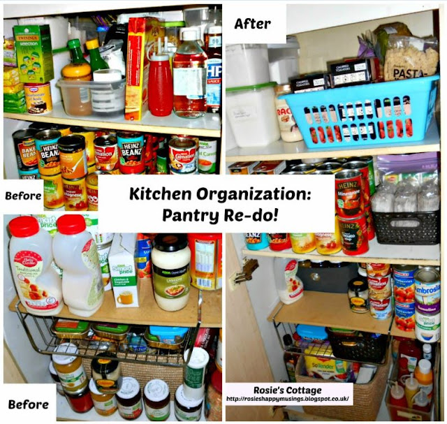 Organized kitchen pantry before & after collage