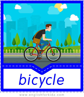 bicycle, free printable transportation flashcards