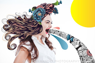 Crazy graphic Hair , art and fashion combine with beauty and photography