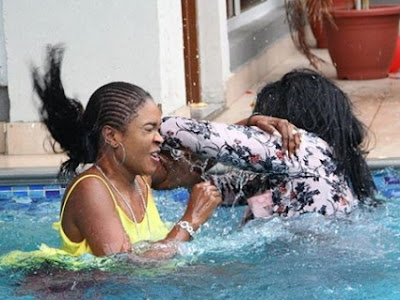 omoni oboli funke akindele fighting hotel swimming pool