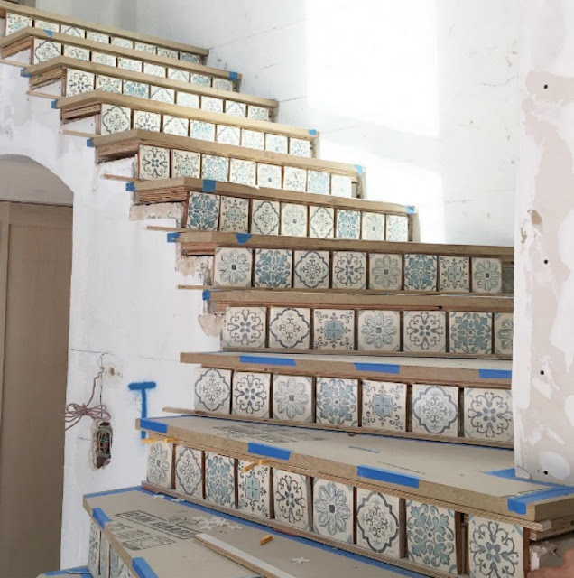 image result for stairs with tiles during construction Malibu Mediterranean Modern Farmhouse Giannetti Home