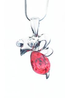 Pandantiv Litlle Red Bird din argint, cu cristal Austria