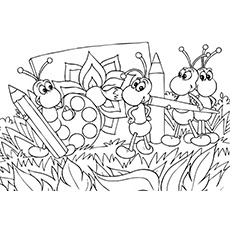 Cute Ant Colony Coloring Sheet For Kids