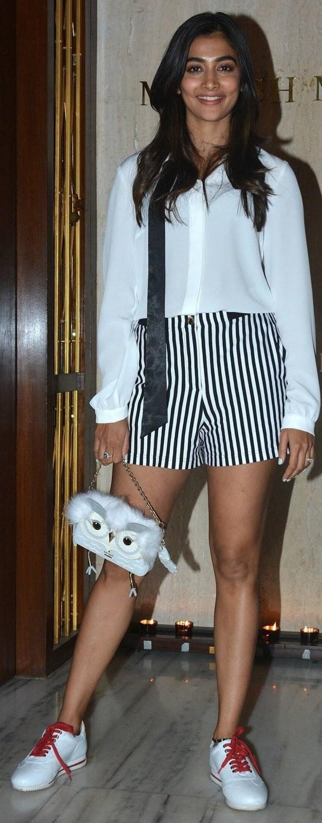 Indian Girl Pooja Hegde Long Legs Show In White Shirt