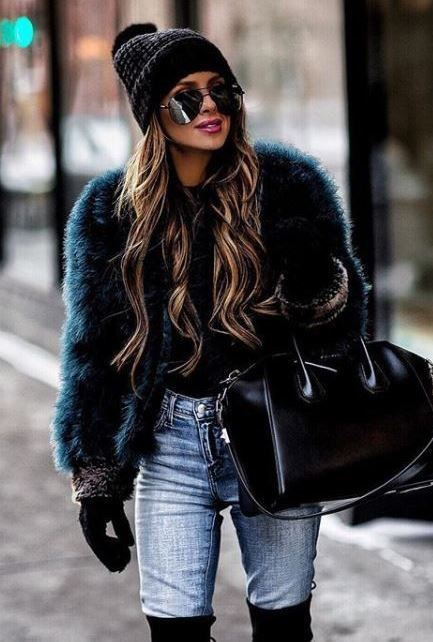 fashionable fall outfit / fur jacket + bag + hat + jeans + over knee boots