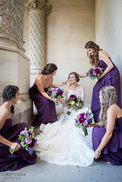 Bridesmaids tending to bride at the Biltmore House