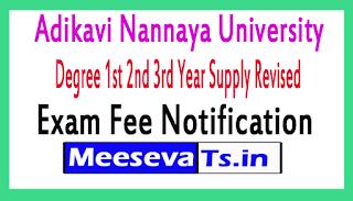 Adikavi Nannaya University Degree 1st 2nd 3rd Year Supply Revised Exam Fee Notification