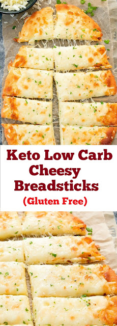 Keto Low Carb Cheesy Breadsticks - Gluten Free #ketobread #breadsticks #cheesy #snacks #healthysnacks #lowcarb #glutenfree #easybreakfast #whole30