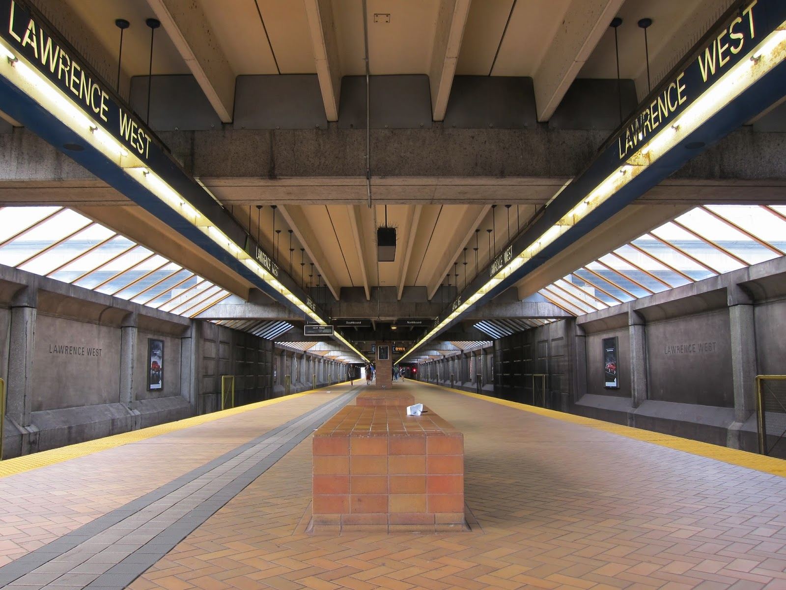 Lawrence West subway platform view