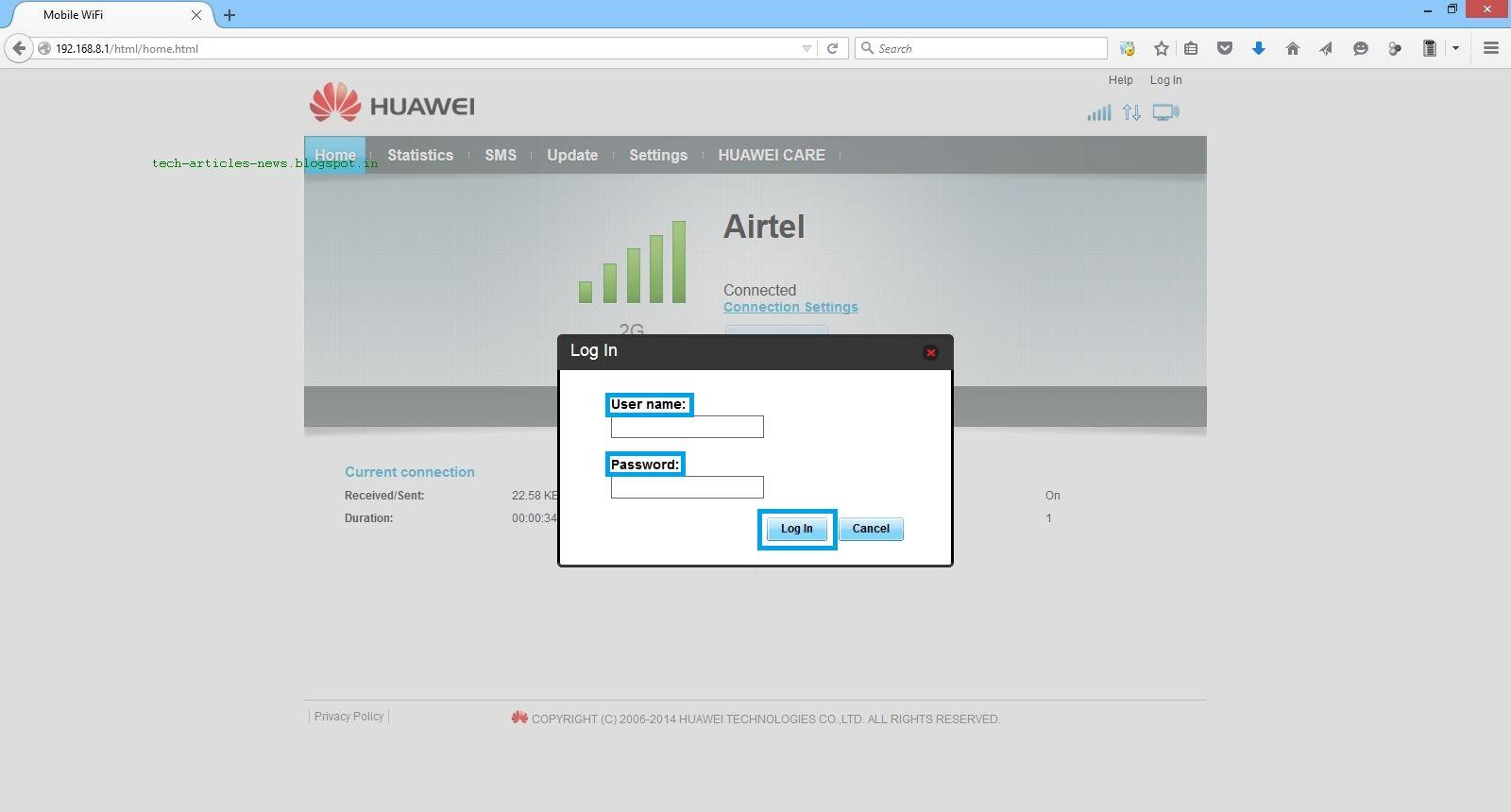 Huawei e8221 username and password